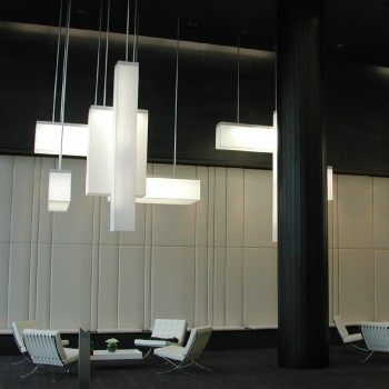 White rectangle ceiling installation lampshades