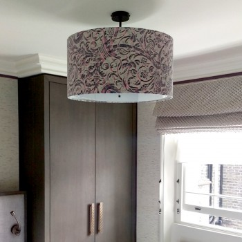 Laminated grey and pink drum lampshade with base diffuser