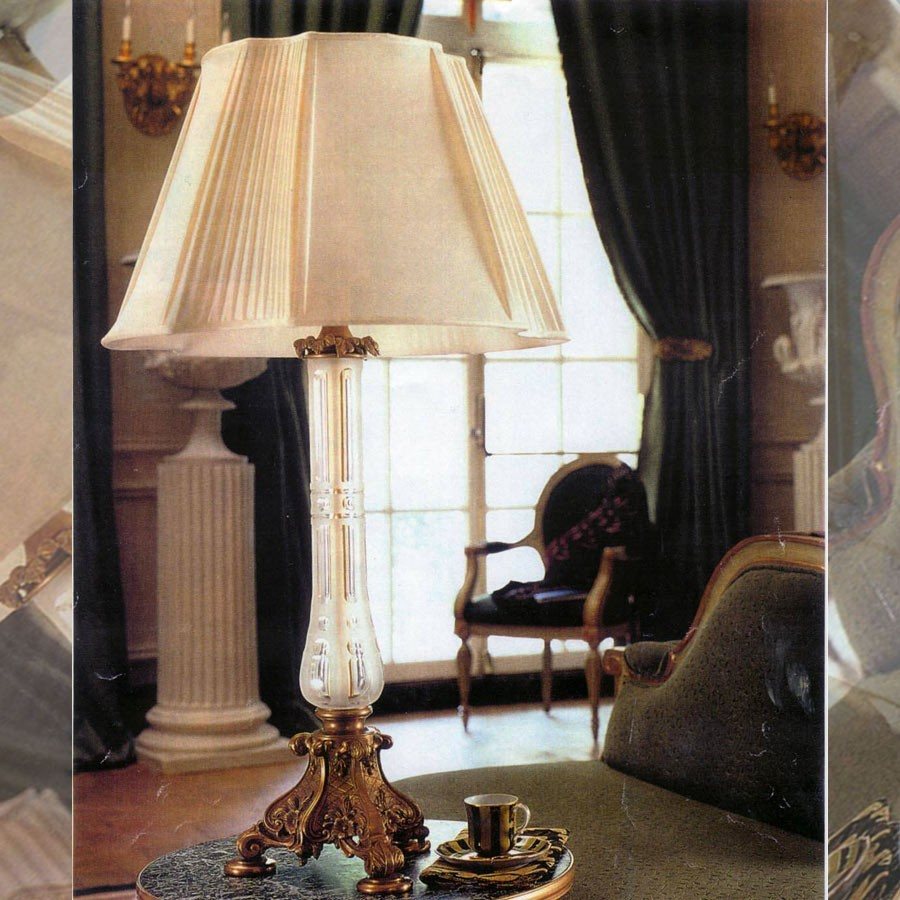 Pleated and flat cream lampshade