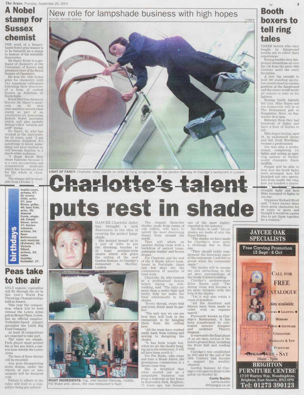 The Argus, Gordon Ramsay at Claridge's, September 2001