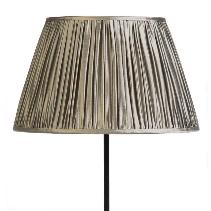 Classic Pembroke Lampshade Gathered in Silver Birch Silk example with Base