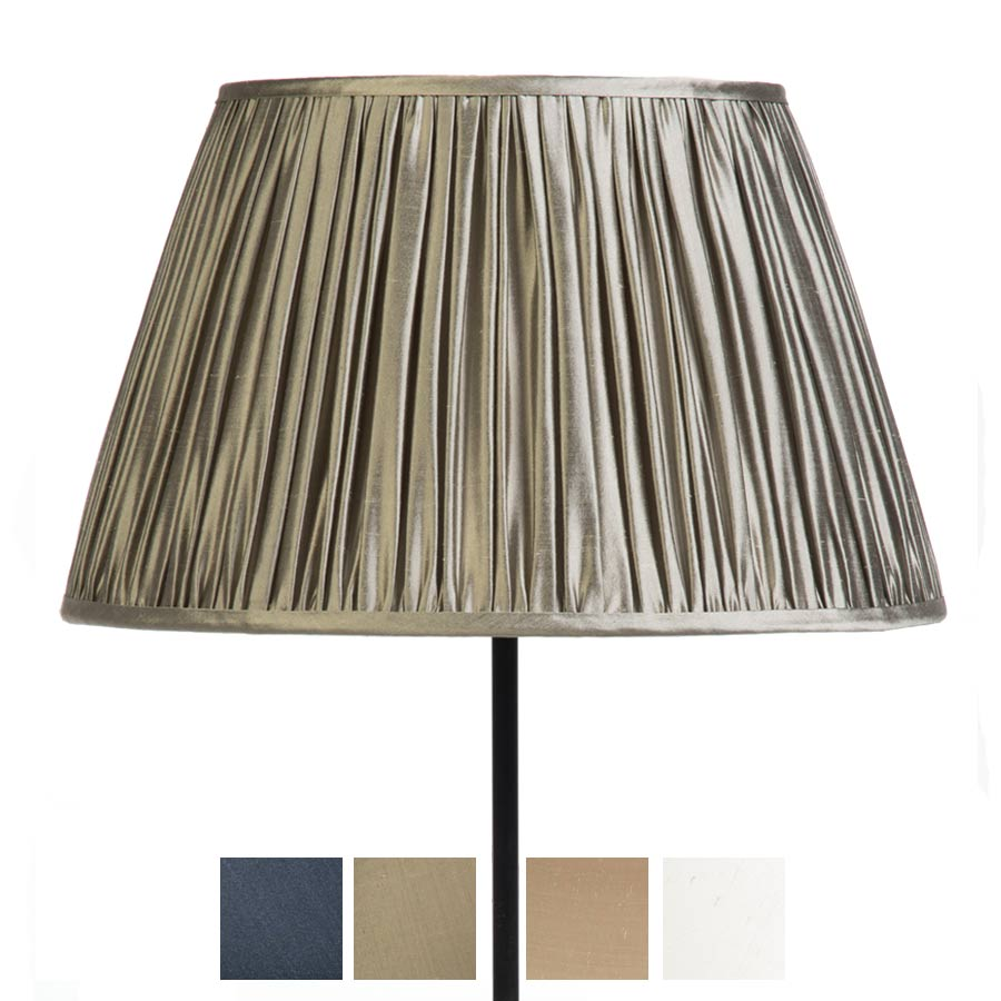 Classic Pembroke Lampshade Gathered in Ivory, Pebble, Silver Birch and Gunmetal Silk