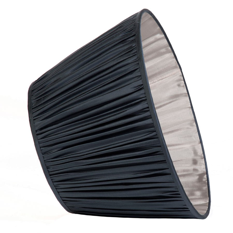 Classic Pembroke Lampshade Gathered in Gunmetal Silk