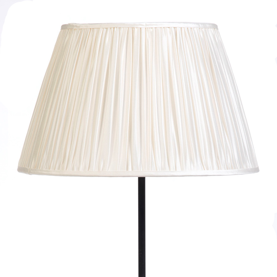 Classic Pembroke Lampshade Gathered in Ivory Silk example with Base