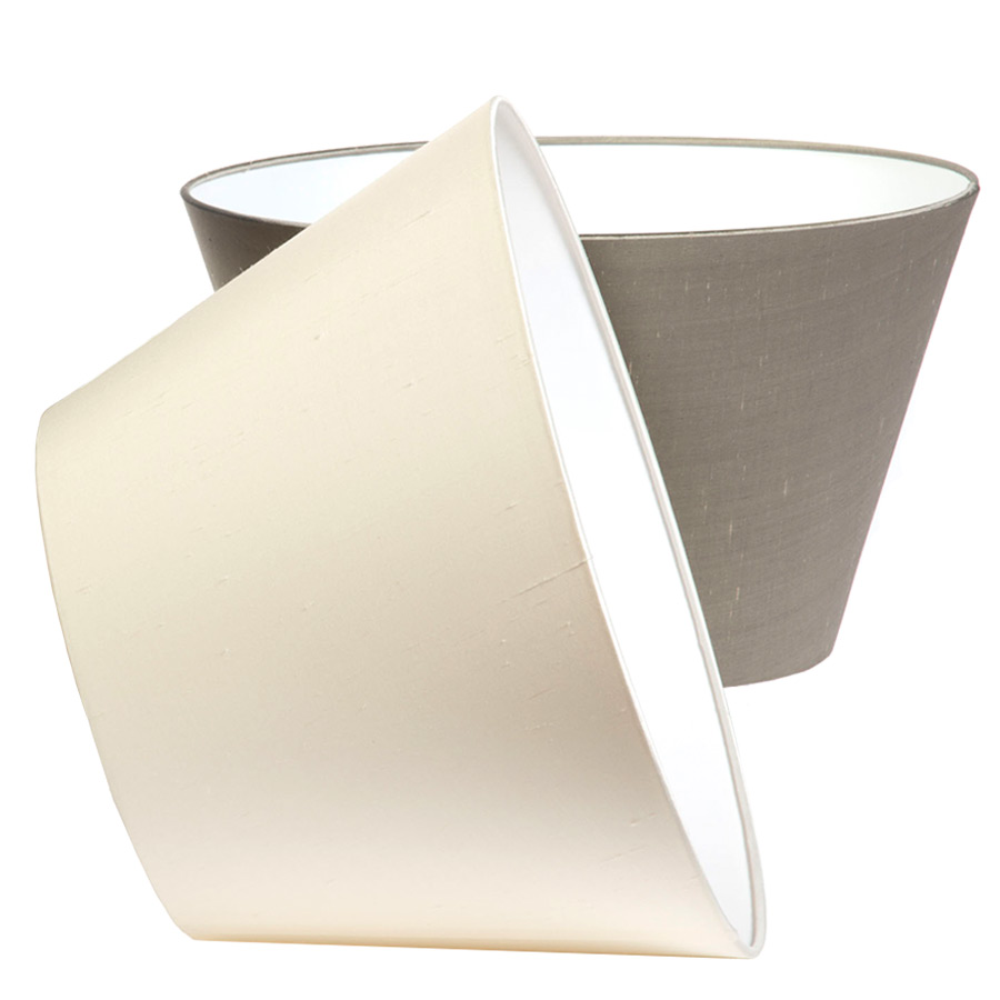 Classic Pembroke Lampshade Laminated in Pebble or Ivory Silk