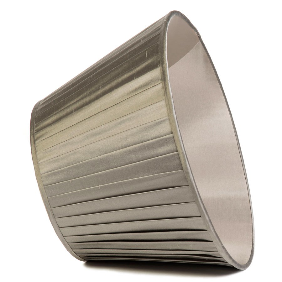 Classic Pembroke Lampshade Knife-Pleat in Silver Birch Silk