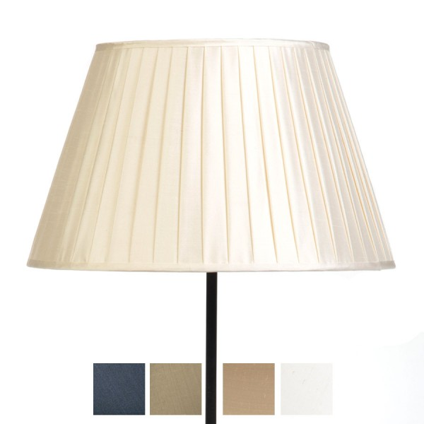 Classic Pembroke Lampshade Knife-Pleat in Ivory, Pebble, Silver Birch and Gunmetal Silk