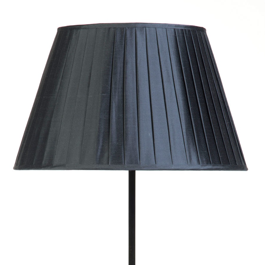 Classic Pembroke Lampshade Knife-Pleat in Gunmetal Silk example with Base