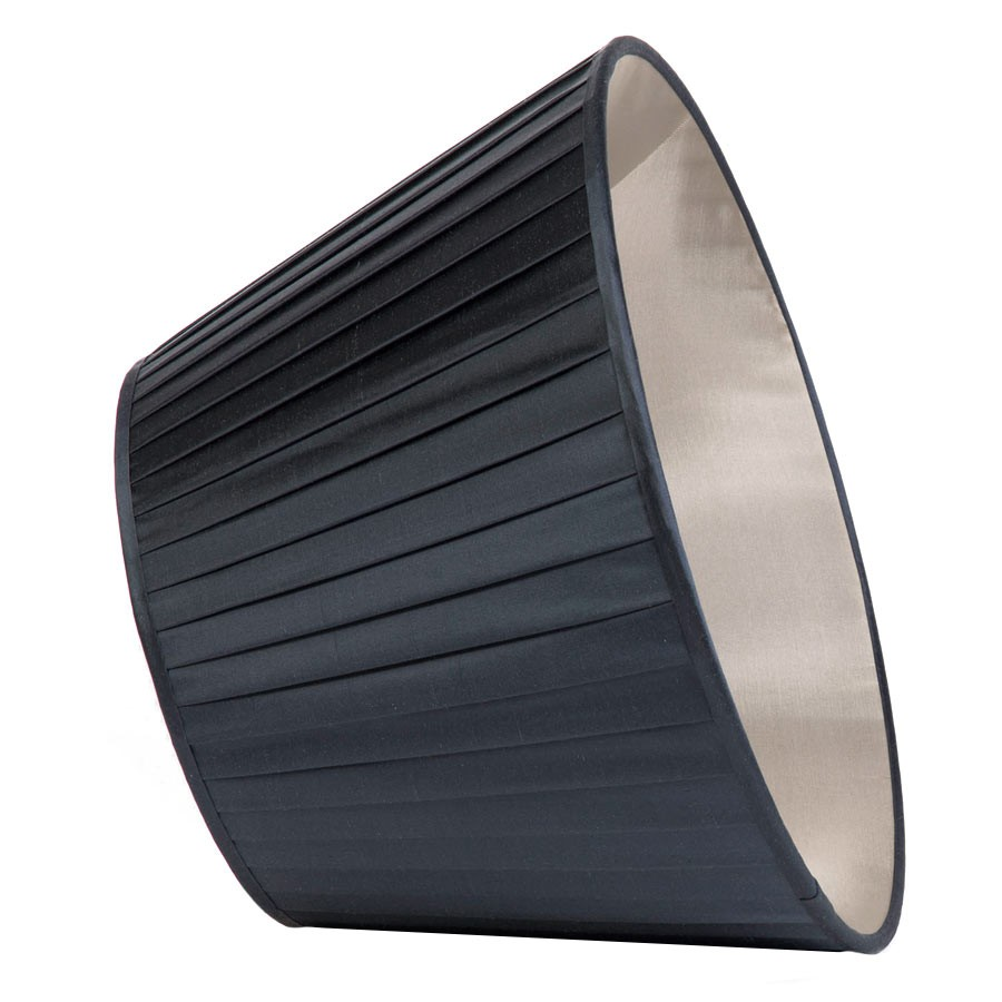 Classic Pembroke Lampshade Knife-Pleat in Gunmetal Silk