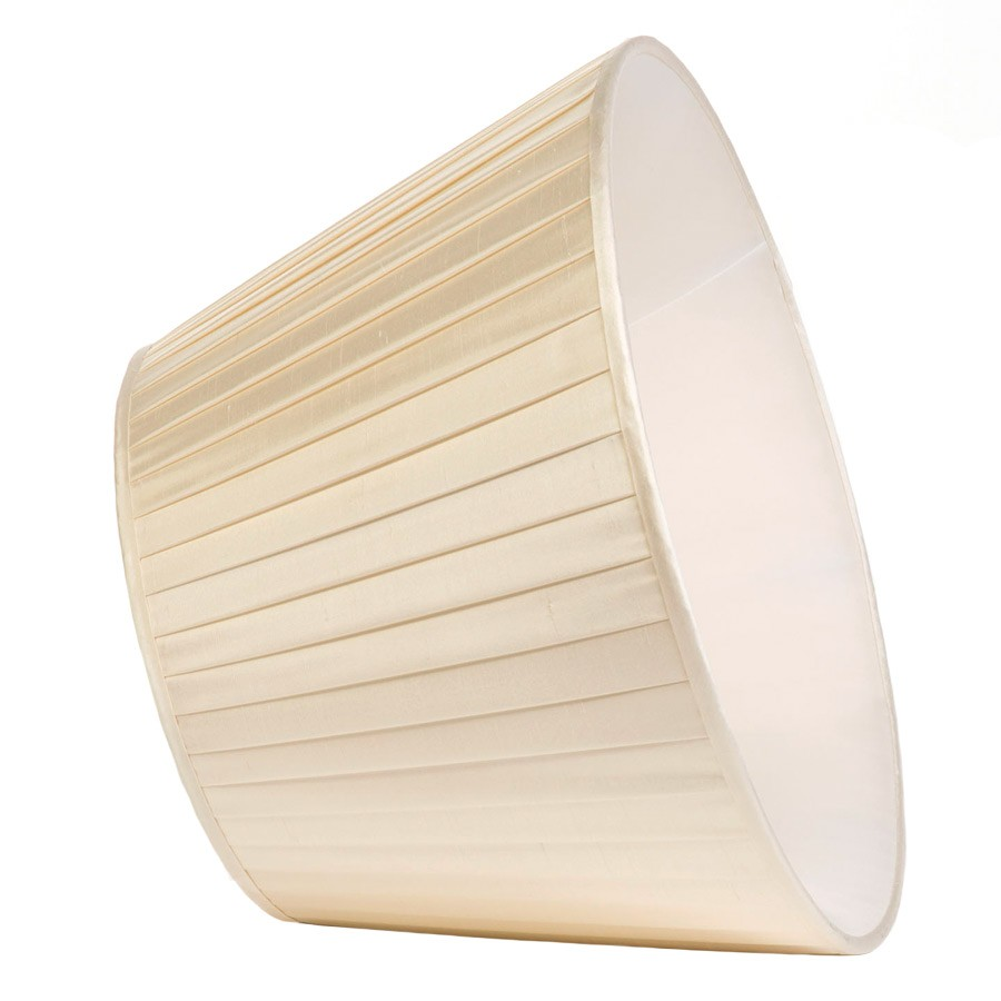 Classic Pembroke Lampshade Knife-Pleat in Ivory Silk