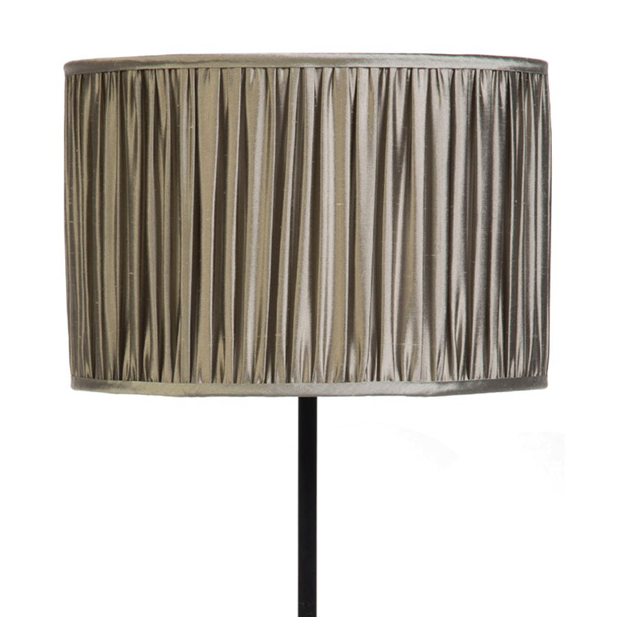Signature Drum Gathered Lampshade in Gunmetal, Silver Birch, Pebble and Silver Birch Silk