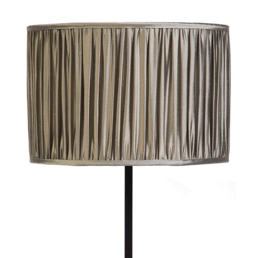 Signature Drum Gathered Lampshade in Silver Birch Silk example with Base