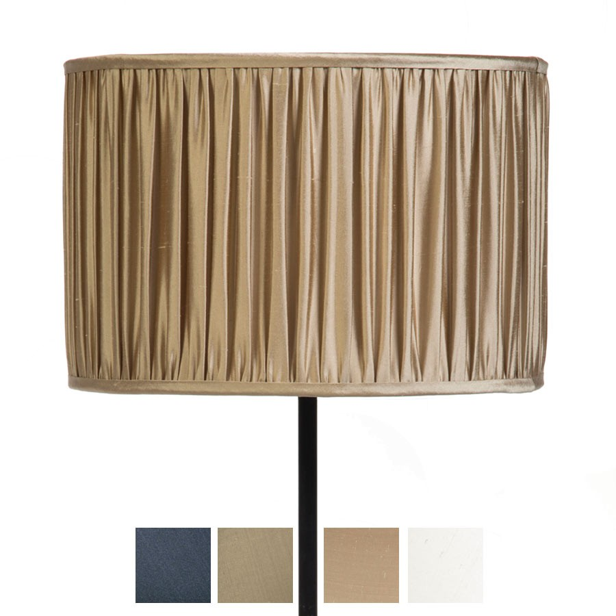 Signature Drum Gathered Lampshade in Gunmetal, Silver Birch, Pebble and Ivory, Gunmetal, Pebbe and Silver Birch Silk