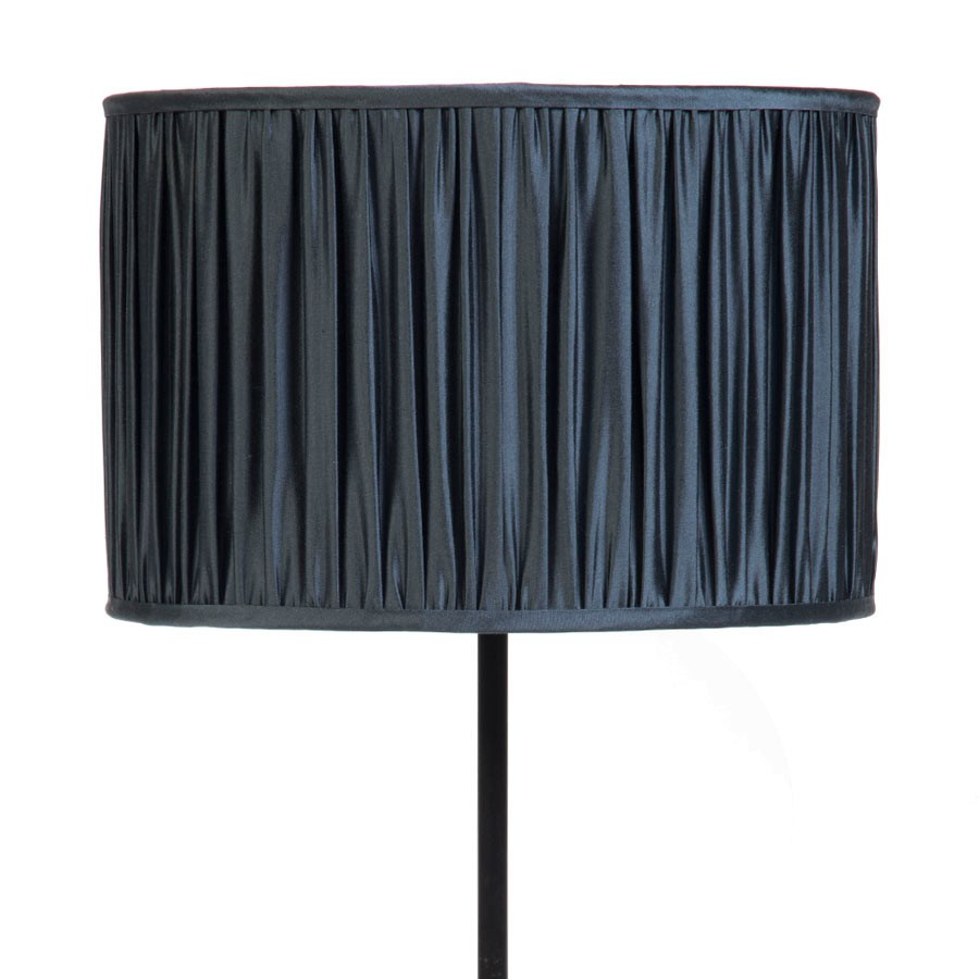 Signature Drum Gathered Lampshade in Gunmetal, Silver Birch, Pebble and Gunmetal Silk