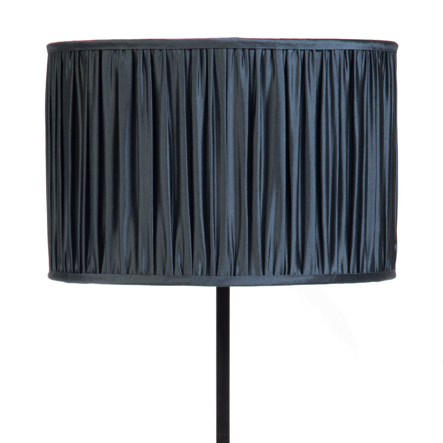 Signature Drum Gathered Lampshade in Gunmetal Silk example with Base