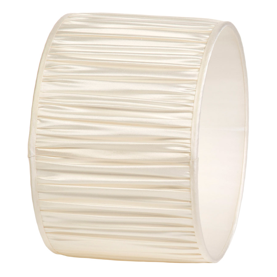 Signature Drum Gathered Lampshade in Ivory Silk