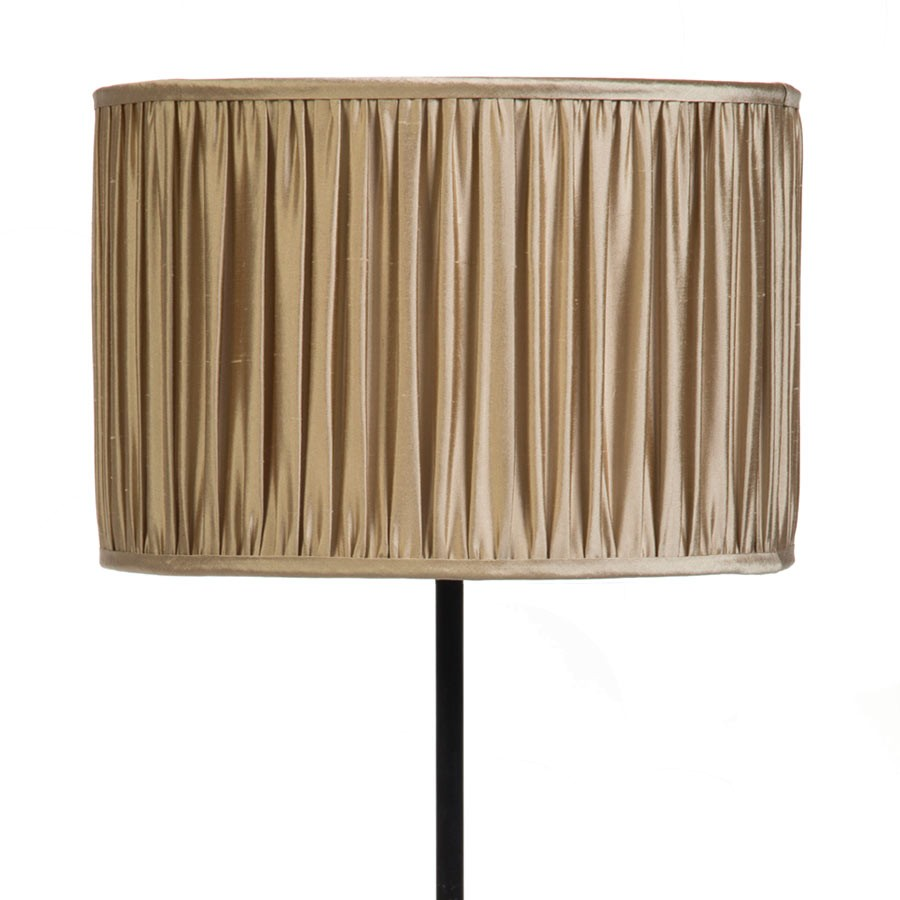 Signature Drum Gathered Lampshade in Gunmetal, Silver Birch, Pebble and Pebble Silk