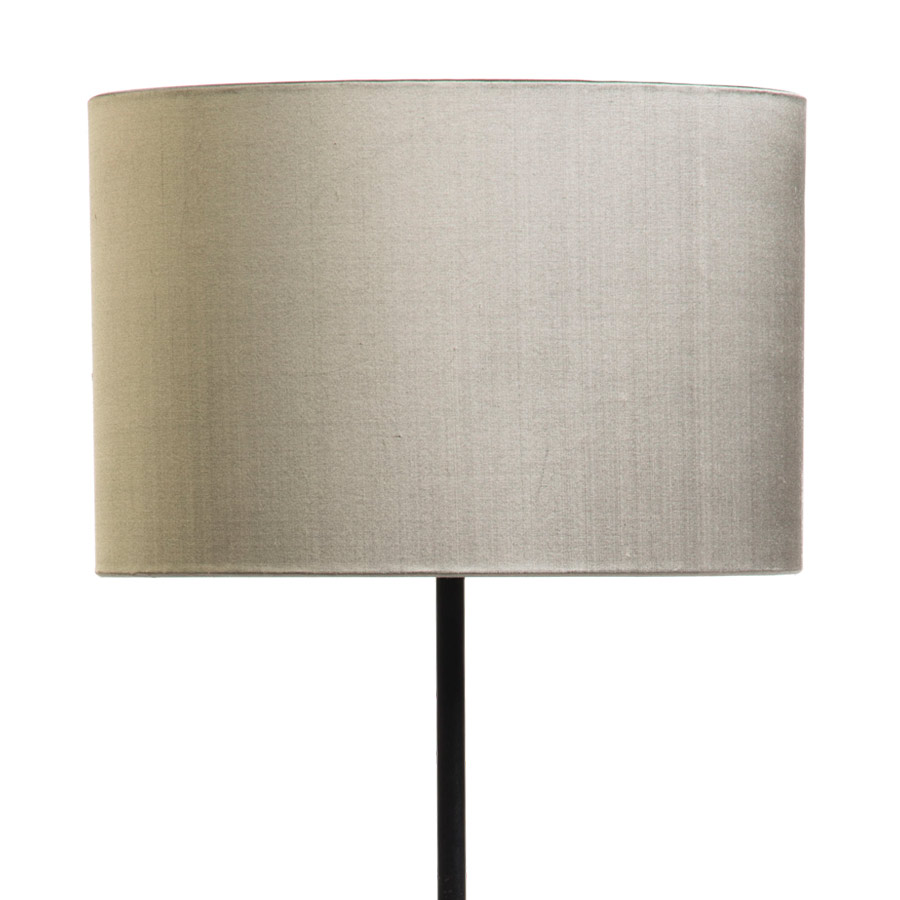 Signature Drum Laminated Lampshade in Silver Birch Silk example with Base