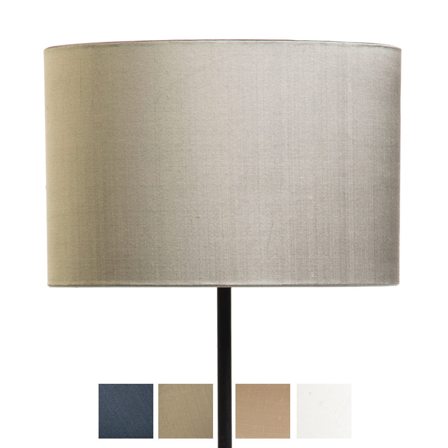 Signature Drum Laminated Lampshade in Ivory, Pebble, Silver Birch and Gunmetal Silk