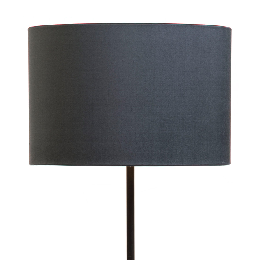 Signature Drum Laminated Lampshade in Gunmetal Silk example with Base