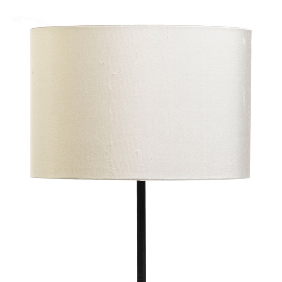 Signature Drum Laminated Lampshade in Ivory Silk example with Base