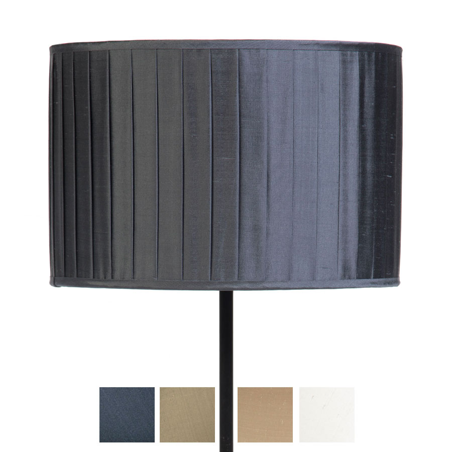 Signature Drum Knife-Pleat Lampshade in Gunmetal, Ivory, Pebble and Silver Birch Silk