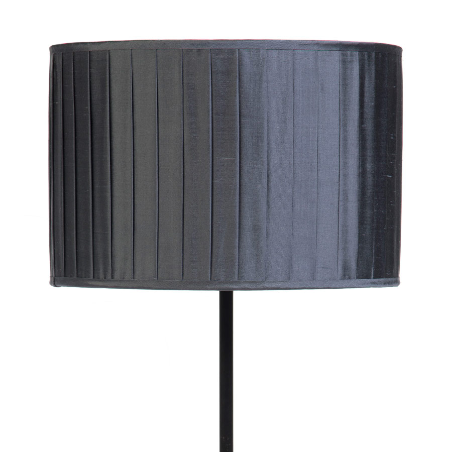 Signature Drum Knife-Pleat Lampshade in Gunmetal Silk example with Base