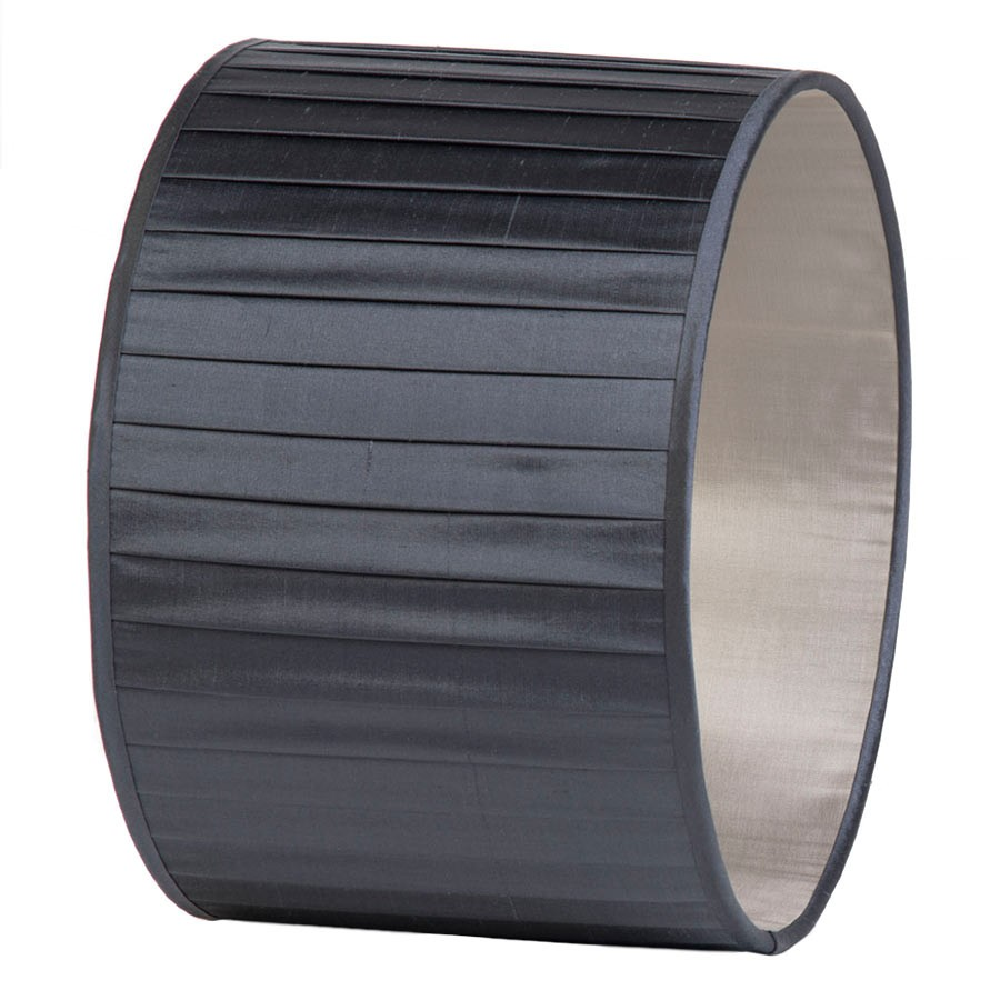 Signature Drum Knife-Pleat Lampshade in Gunmetal Silk