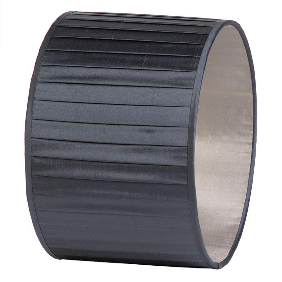 Signature Drum Knife-Pleat Lampshade in Gunmetal Silk