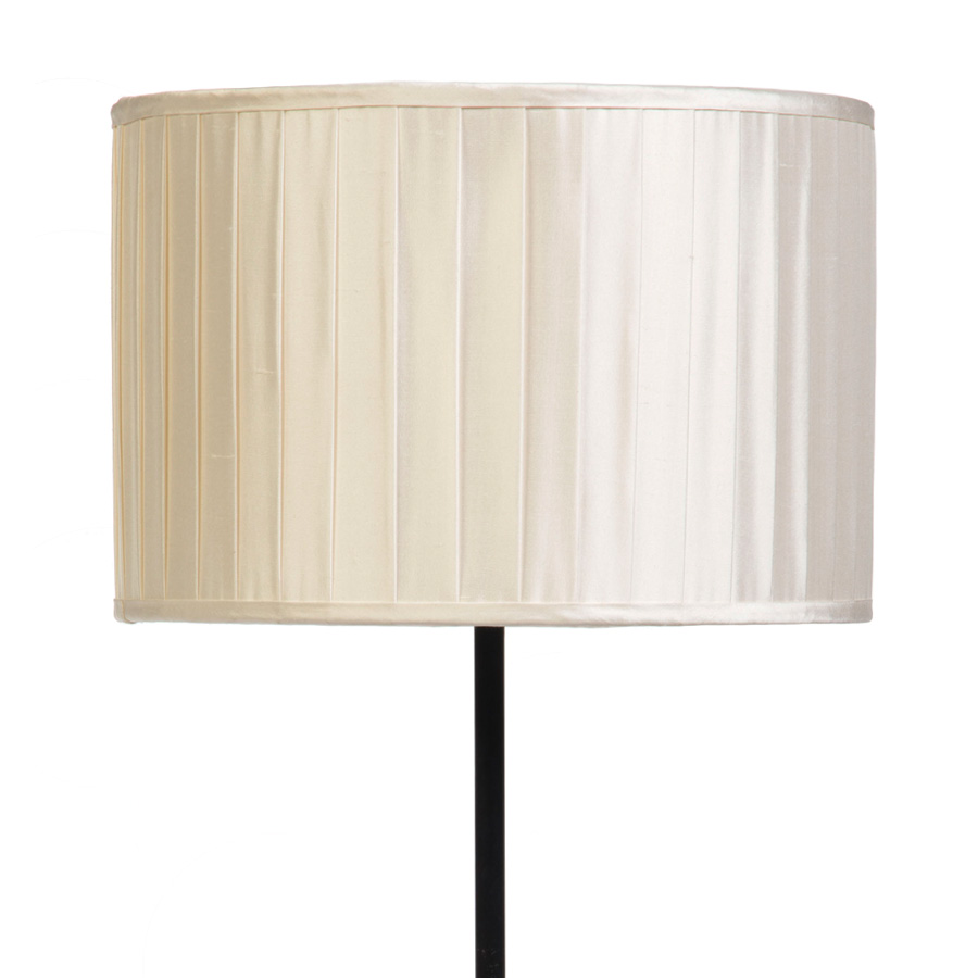 Signature Drum Knife-Pleat Lampshade in Ivory Silk example with Base