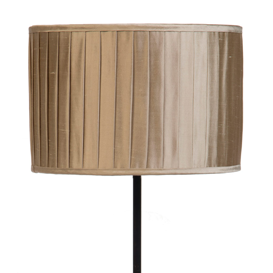 Signature Drum Knife-Pleat Lampshade in Pebble Silk example with Base