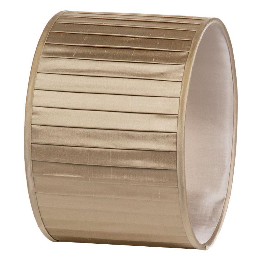 Signature Drum Knife-Pleat Lampshade in Pebble Silk