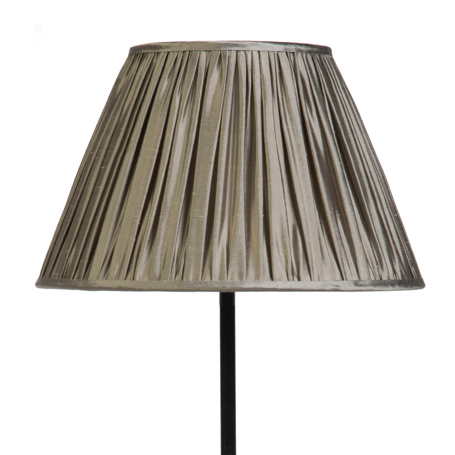 Signature Traditional Empire Gathered Lampshade in Silver Birch Silk