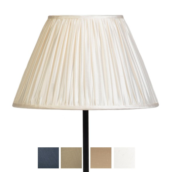 Signature Traditional Empire Gathered Lampshade in Pebble, Ivory, Silver Birch and Gunmetal Silk