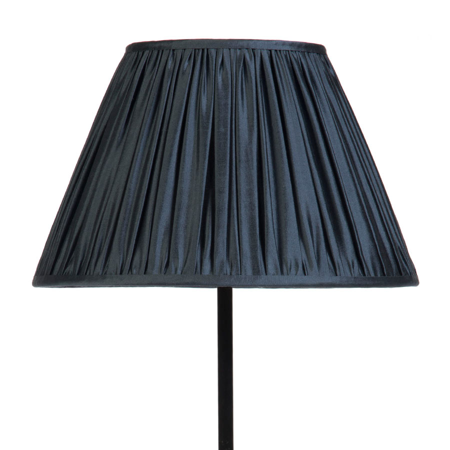 Signature Traditional Empire Gathered Lampshade in Gunmetal Silk example with Base