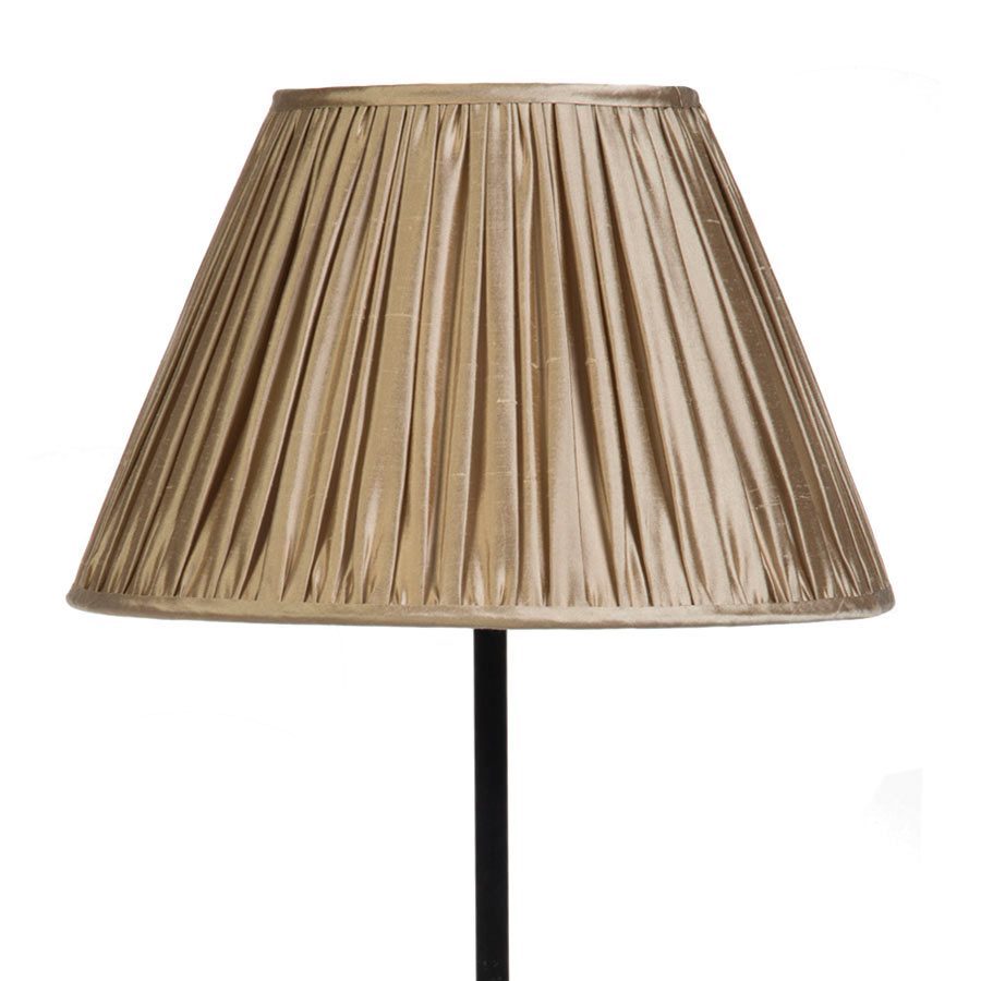 Signature Traditional Empire Gathered Lampshade in Pebble Silk example with Base