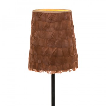 Rust coquille turkey feather lampshade