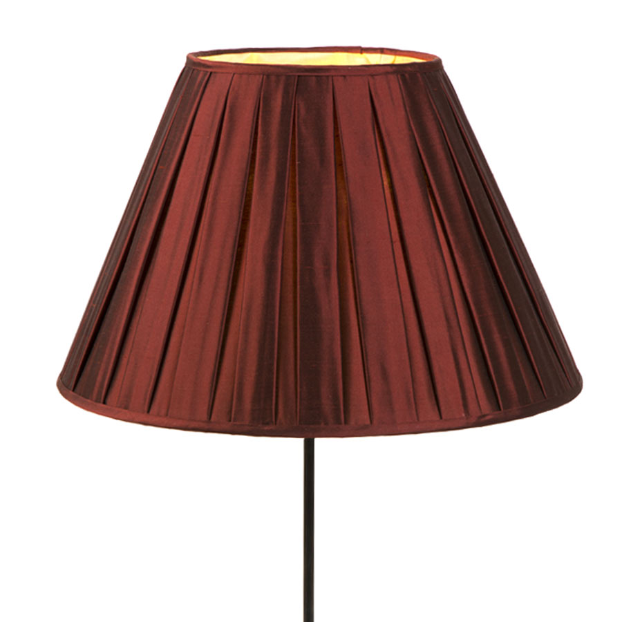 Dark red silk box pleated lampshade