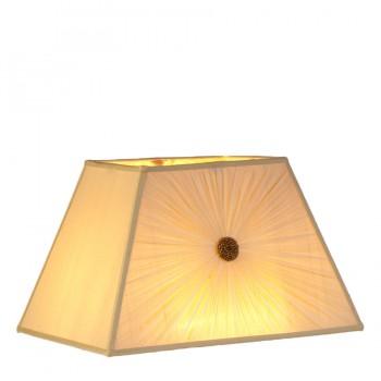 Gathered cream chiffon lampshade with matching trim