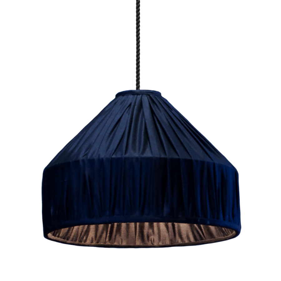 Sophie Pendant Light in Ink Navy Gathered Silk
