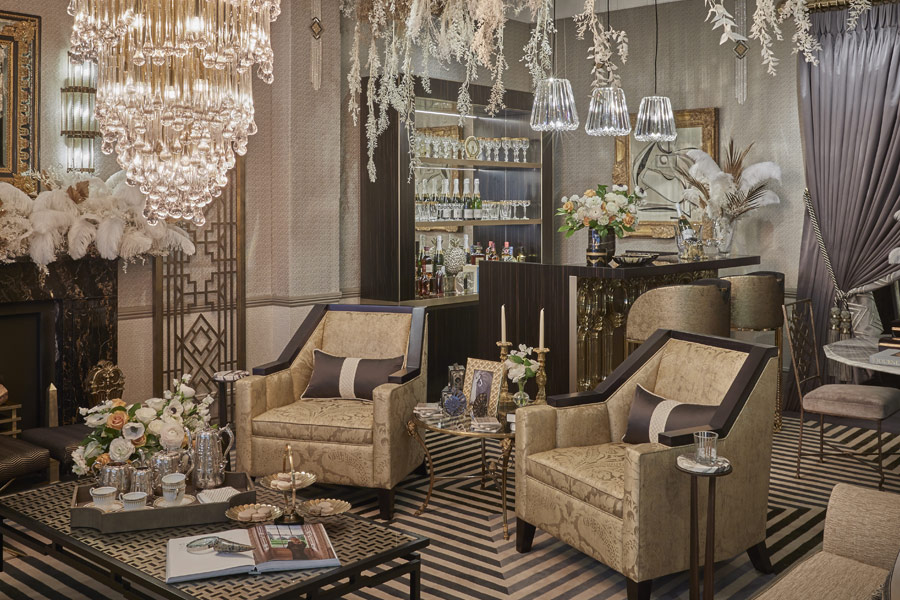 The 'Gatsby Suite' art deco styling by interior designer Katharine Pooley for London Design Week 2019.