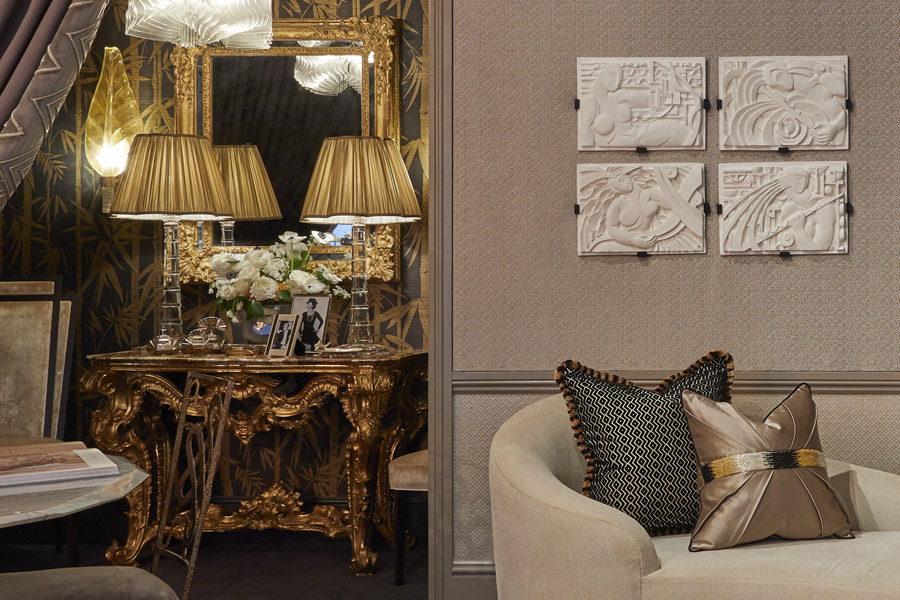 Talking Art Deco and soft daisy-shaped lampshades with Katherine Pooley for the 'Gatsby Suite'.