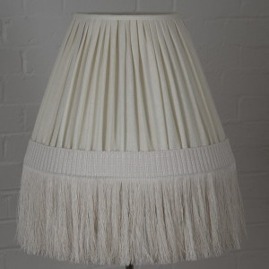 Gathered cream linen retro lampshade with long trim – a sneak preview of our new retro range coming soon!